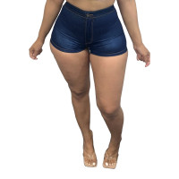 Washed Button Denim Hot Shorts with Pocket