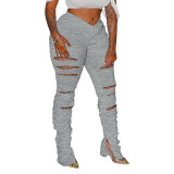 Solid Color Pleated Split Holes Stacked Pants