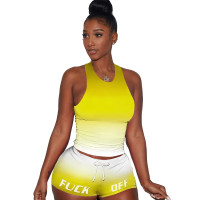 Gradient Letter Vest Loungewear Sports Shorts Set