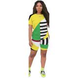 Geometric Stripes Contrast Color Sports 2 Piece Set