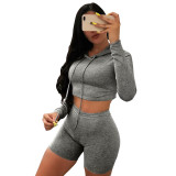 Solid Color Hooded Activewear Shorts Set