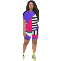 Geometric Stripes Contrast Color Sports 2 Piece Set