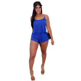 Solid Color Straps Short Outfits
