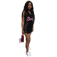 Band Letters Side Bandage Sexy Club Dress