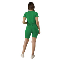 Solid Color Cotton Basic Shirt and Tight Shorts