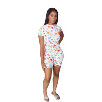 Colorful Star Print Two Piece Shorts Set