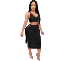 Solid Color Sweater Straps Crop Top and Skirts Set