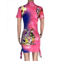 Casual Bandage Printed Cartoon Mini Dress