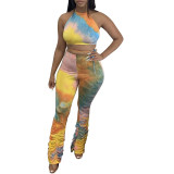 Casual Print Bandage Halter Crop Top and Stacked Trousers