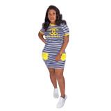 Casual Letter Printed Striped Mini Dress
