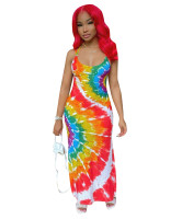 Casual Straps Tie-dye Printed Maxi Dress