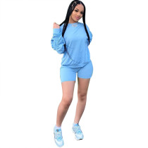 Solid Color Pile Sleeve Pant Set