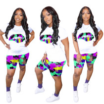 Camouflage Lips Printed 2 Piece Shorts Set