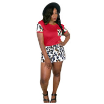 Casual Leopard Print Stitching Two Piece Set