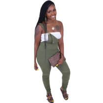 Solid Color Sling Chain Pleated Jumpsuit Pants