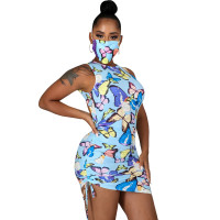 Casual Butterfly Print Irregular Backless Mini Dress Without Mask