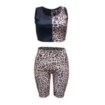 Casual Leopard Shorts Vest Two Piece Set