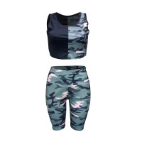 Casual Camouflage Shorts Vest Two Piece Set