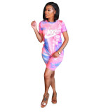Casual Letter Print Short Sleeve Two Piece Outfits