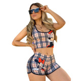 Casual Printed Two Piece Shorts Set