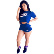 Casual Print Sport Shorts Set