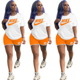Casual Offset Print Two Piece Shorts Set