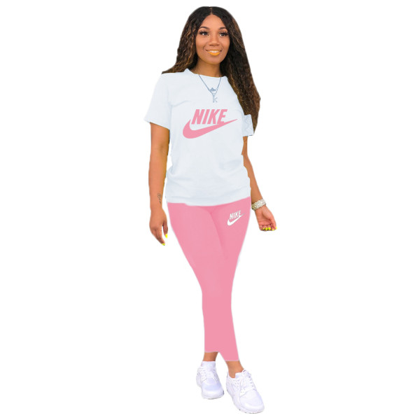 Casual Print Letter Activewear Short Sleeve Top and Long Pant