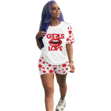 Casual Love Lip Print Two Piece Set