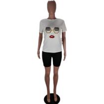 Face Print Crew Neck T-shirt