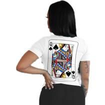 Casual Pattern Print O Neck T-shirt Top