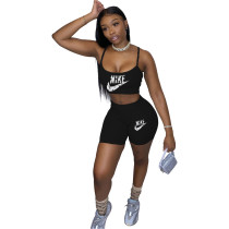 Casual Print Letter Straps Crop Top and Shorts