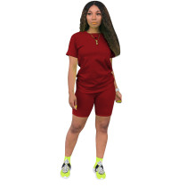 Solid Color Short Sleeve Two Piece Shorts Set