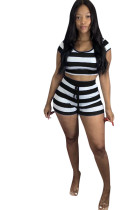 Casual Striped Hooded Crop Top and Shorts