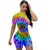 Casual High Waist Print Short Jumpsuit