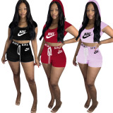 Casual Letter Embroidered Hooded Crop Top and Shorts