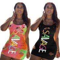 Casual Print Letter Hole Vest Mini Dress