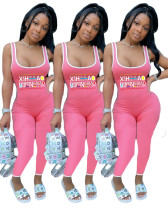 Casual Sleeveless Print Letter Jumpsuit