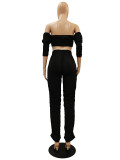 Solid Color Pleated Stacked Tube Top and Micro Pant