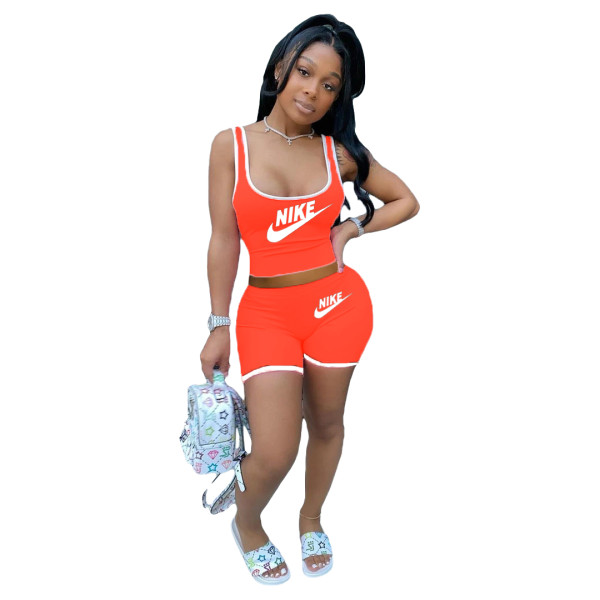 Casual Letter Printed Activewear Shorts Set