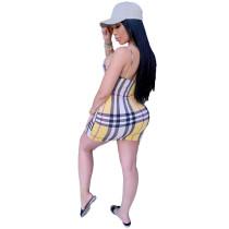 Casual Straps Grid Print Mini Dress