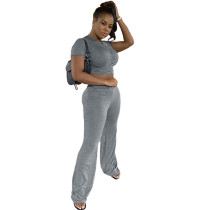 Cotton Micro-pleated Crop Top and Fared Pants Set
