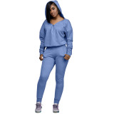 Casual Zipper V-neck Hooded Two Piece Pant Set