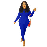 Solid Color Bat Sleeve Tight Blouse and Pant