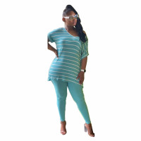 Loose Striped Two Piece Loungewear Pant Set