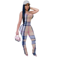 Casual Plaid Stacked Straps Jumpsuit without hat