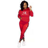 Casual Print Letter Stitching Pant Set