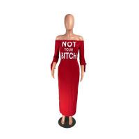 Casual Off Shoulder Print Letter Maxi Dress