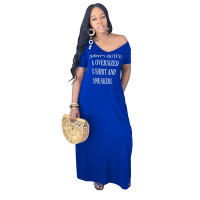Casual Offset Letter V Neck Maxi Dress