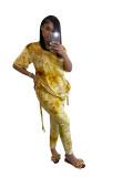 Casual Gold Velvet Tie Dye Drawstring Pleated Pant Set