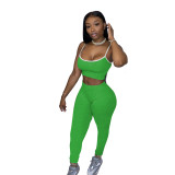 Solid Color Straps Crop Top and Pants